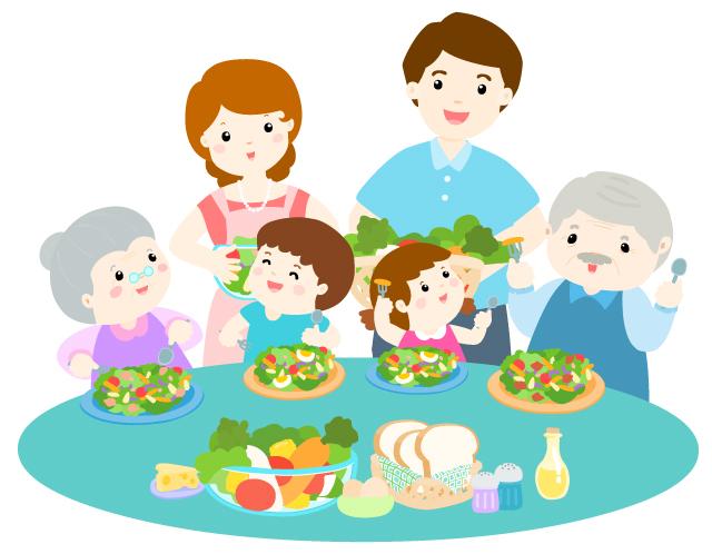 家族で野菜を食べる