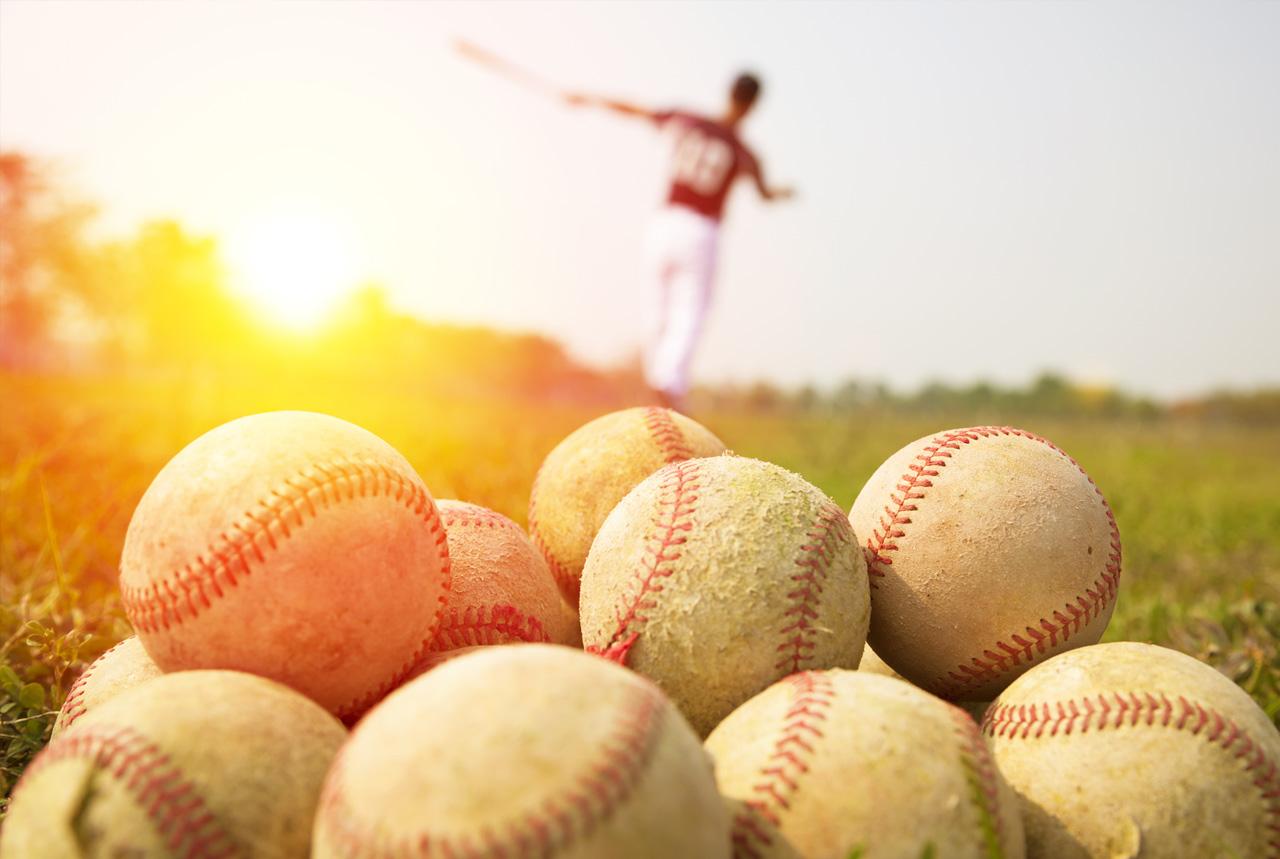 炎天下で野球