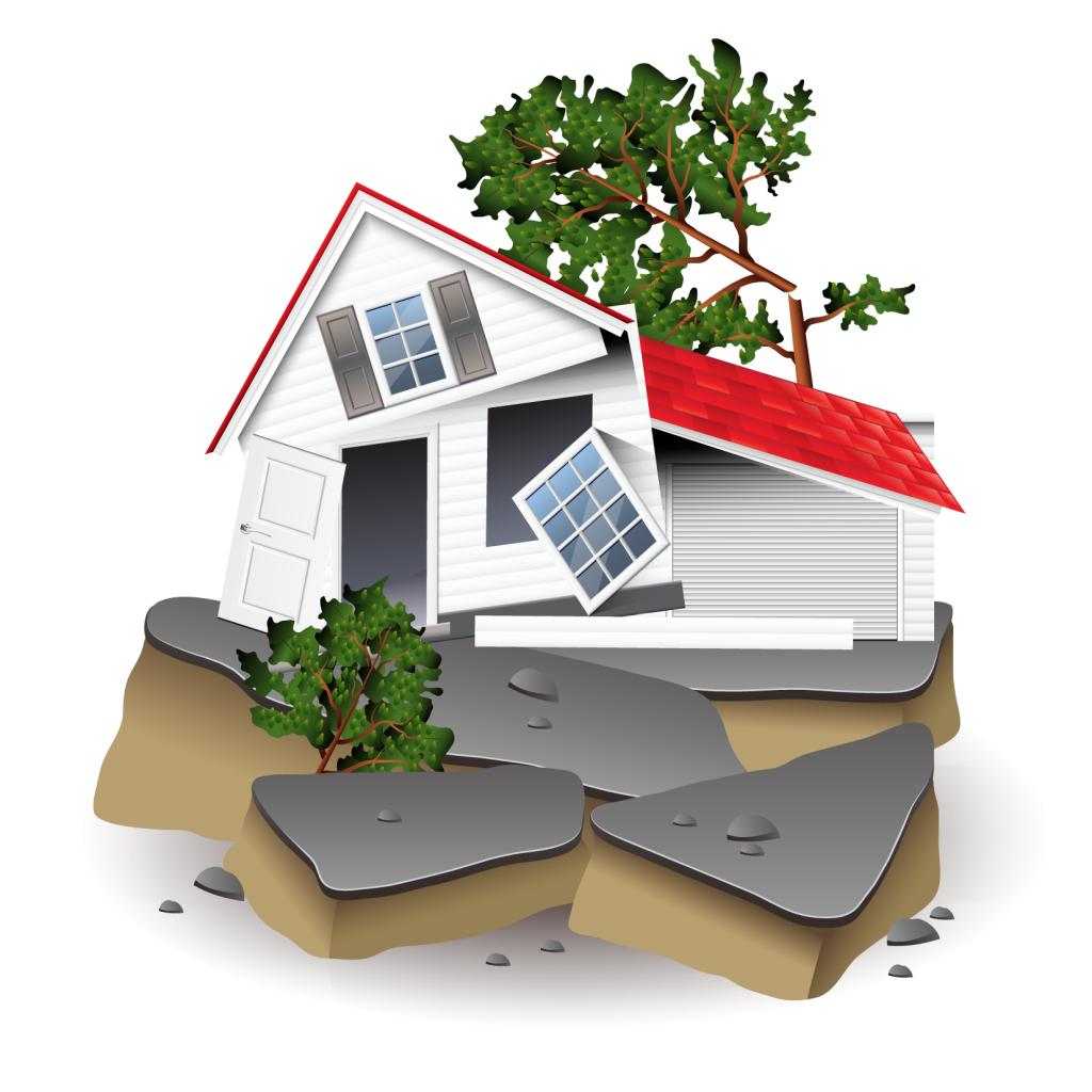 地震で壊れる家