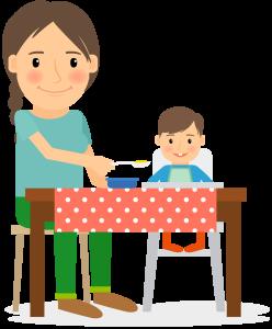 母親と子どもが食事する