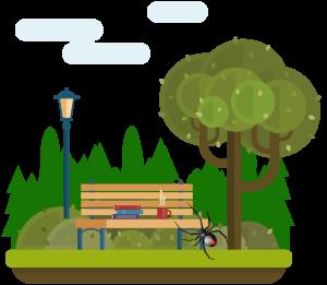 ベンチの裏にセアカゴケグモ