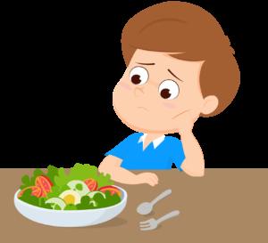 子供が一人で食事をするイラスト