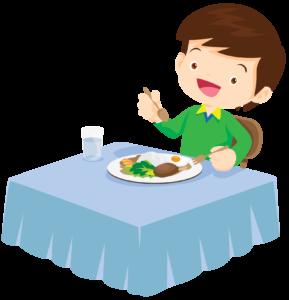 子どもが食事をするイラスト