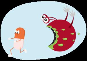 耐性菌のイラスト