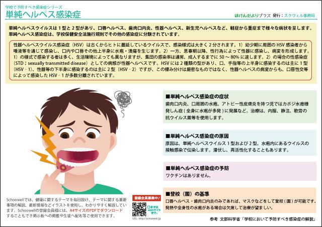 ほけんだよりプラス - 単純ヘルペス感染症 - 学校で予防すべき感染症シリーズ